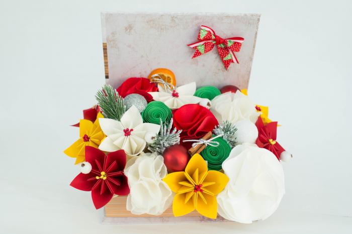 Cutie carte - Flori hârtie/ Flori textile - Crăciun 0