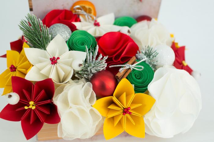 Cutie carte - Flori hârtie/ Flori textile - Crăciun 1