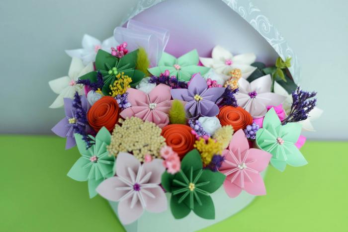 Cutie Inimă - Flori hârtie 3