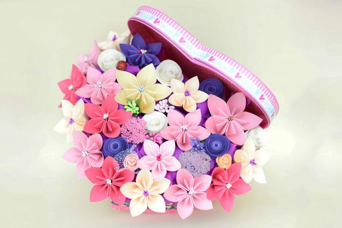 Cutie Inimă - Flori hârtie [0]