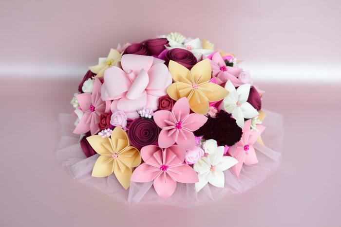 Decor masă - Semisferă flori hârtie 11