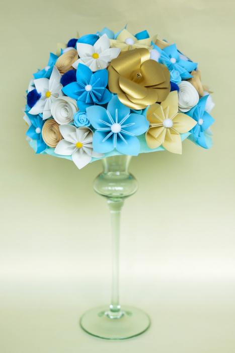 Decor masă - Semisferă flori hârtie 6