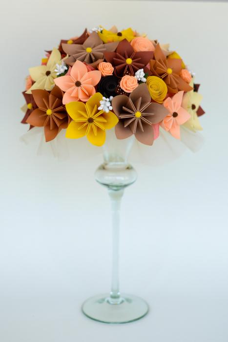 Decor masă - Semisferă flori hârtie 10