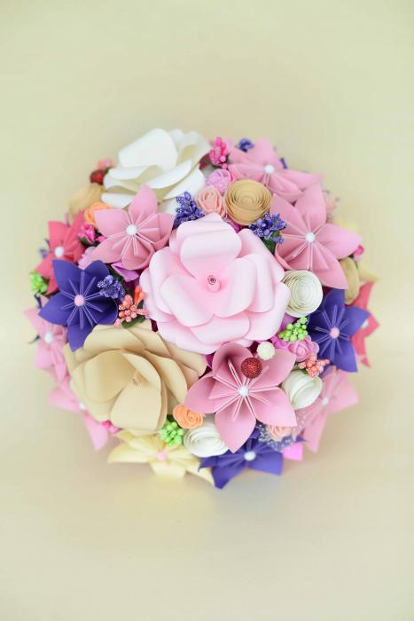 Decor masă - Semisferă flori hârtie 4