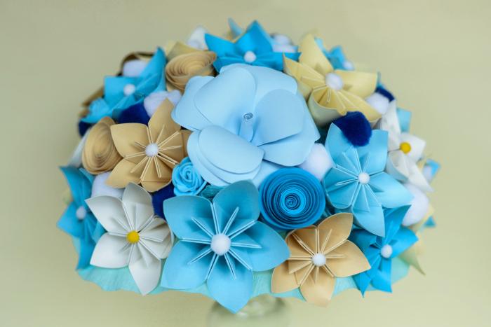 Decor masă - Semisferă flori hârtie 7