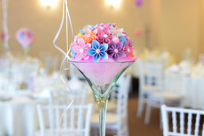 Decor masă - Semisferă flori hârtie 0