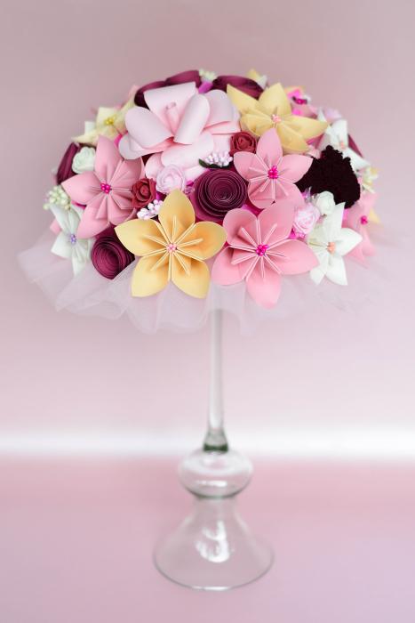 Decor masă - Semisferă flori hârtie 13