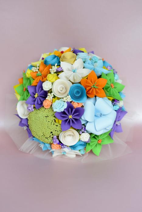 Decor masă - Semisferă flori hârtie/flori uscate [10]