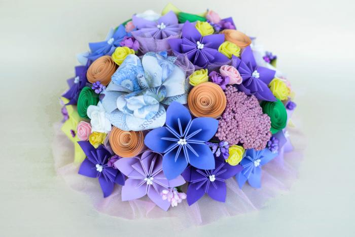 Decor masă - Semisferă flori hârtie/flori uscate [5]