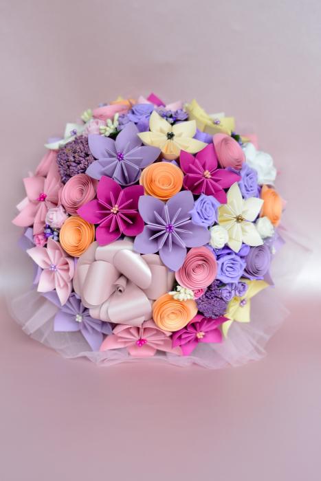 Decor masă - Semisferă flori hârtie/flori uscate [15]