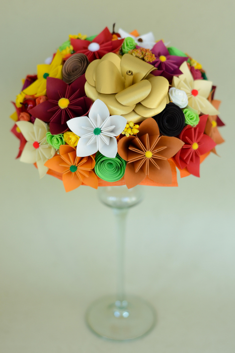 Decor masă - Semisferă flori hârtie/flori uscate [3]