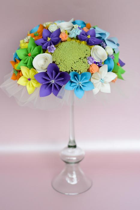 Decor masă - Semisferă flori hârtie/flori uscate [9]