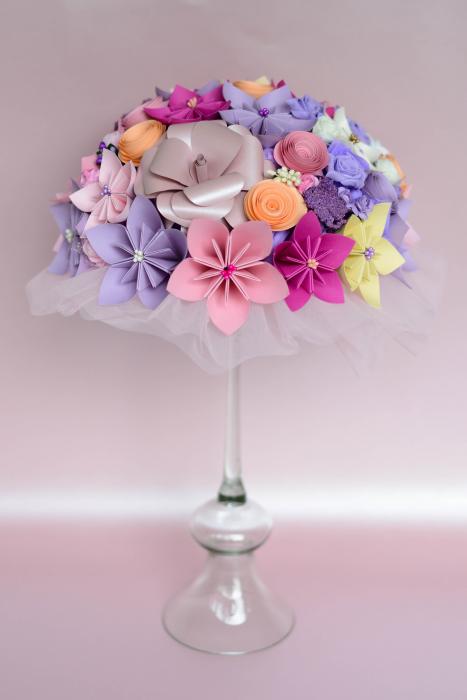 Decor masă - Semisferă flori hârtie/flori uscate [16]