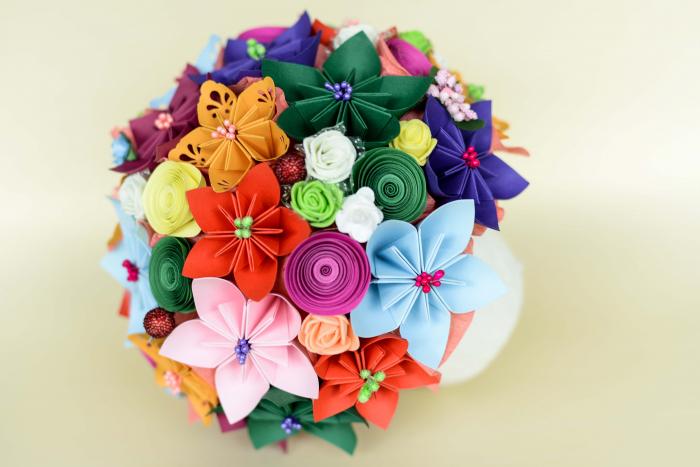 Decorațiune - Ghiveci flori hârtie 3
