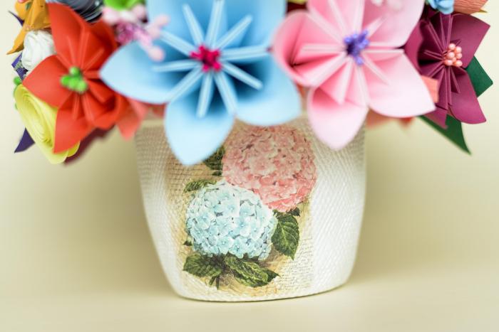 Decorațiune - Ghiveci flori hârtie 2