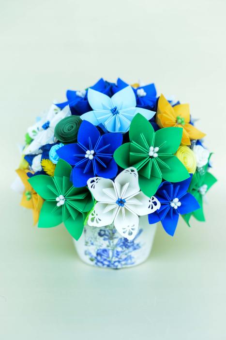 Decorațiune - Ghiveci flori hârtie [0]