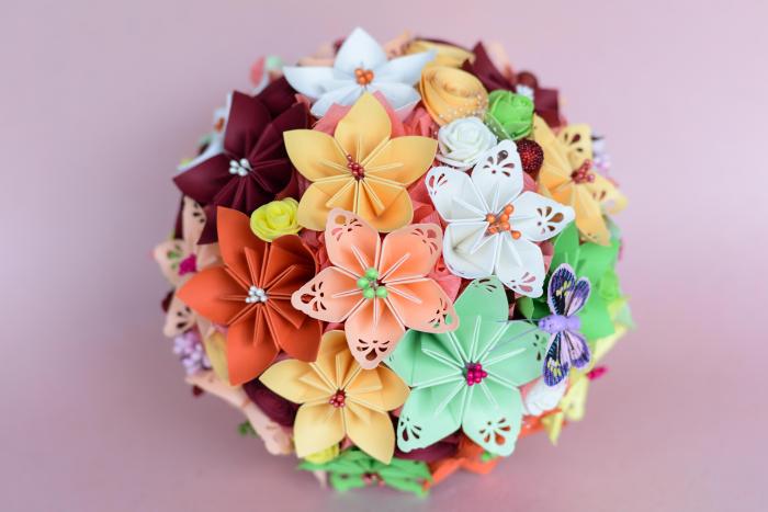 Decorațiune - Ghiveci flori hârtie 1