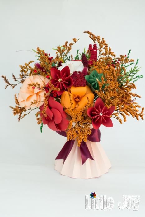 Decorațiune Vază - flori hârtie - Portocaliu 0