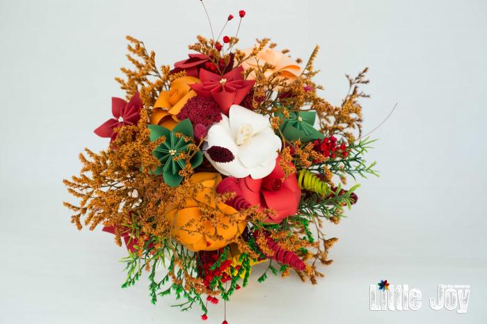 Decorațiune Vază - flori hârtie - Portocaliu 2