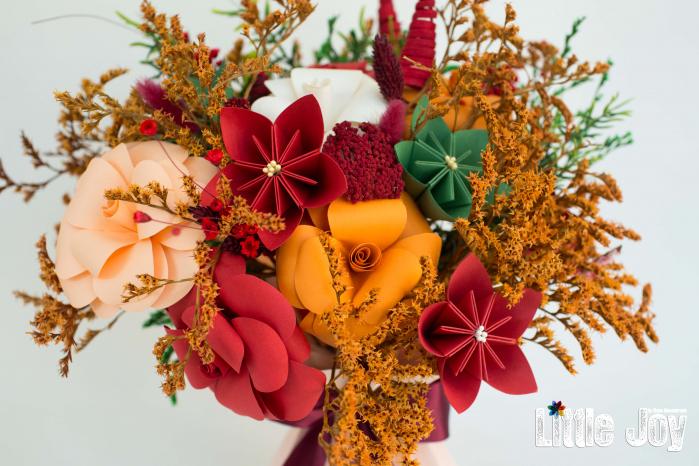 Decorațiune Vază - flori hârtie - Portocaliu 1