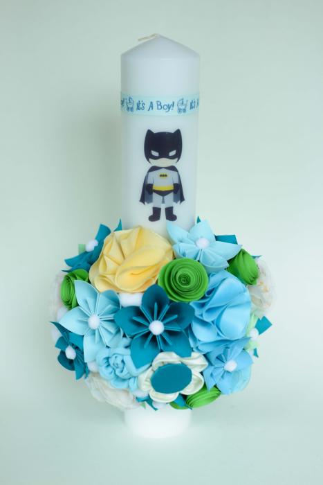 Lumânare botez Batman personalizată - Fundiță 0