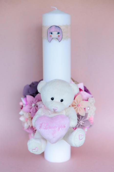 Lumânare botez flori - Ursuleț 3