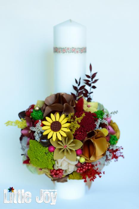 Lumânare botez flori uscate - Fundiță [0]
