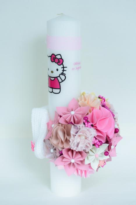 Lumânare botez Hello Kitty personalizată - Botoșei 2