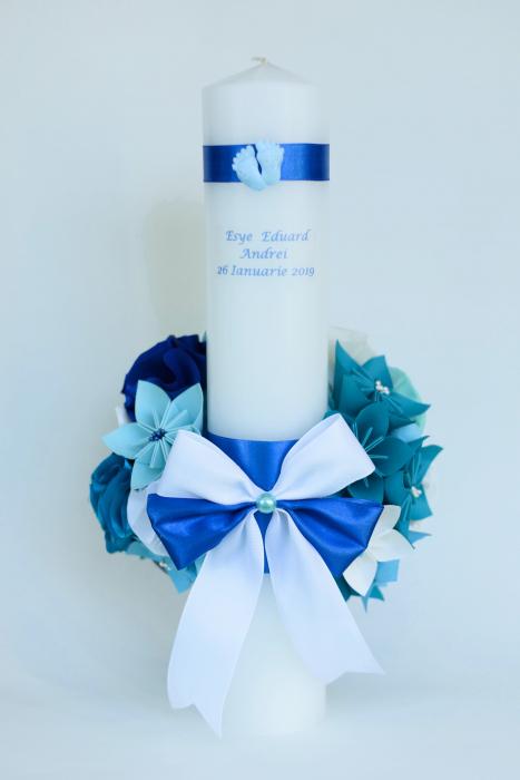 Lumânare botez personalizată - Fundiță 2