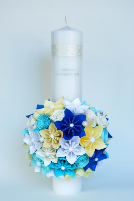 Lumânare botez personaj bleu, personalizată - Fundiță 0