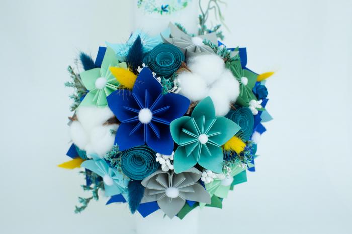 Lumânare botez personalizată flori bumbac 1
