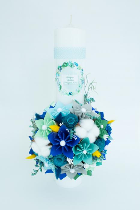 Lumânare botez personalizată flori bumbac 0