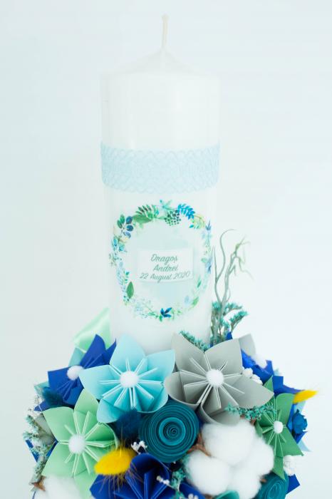 Lumânare botez personalizată flori bumbac 2