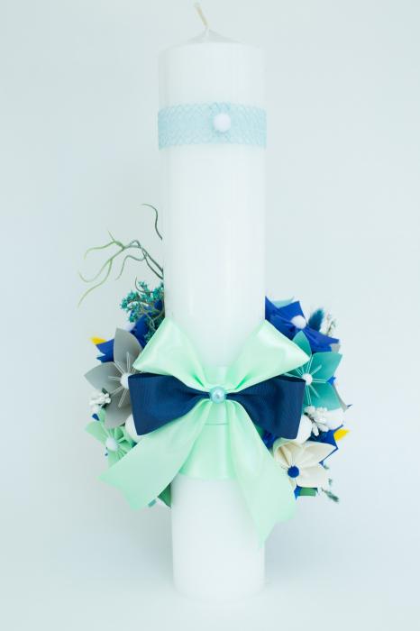 Lumânare botez personalizată flori bumbac 3