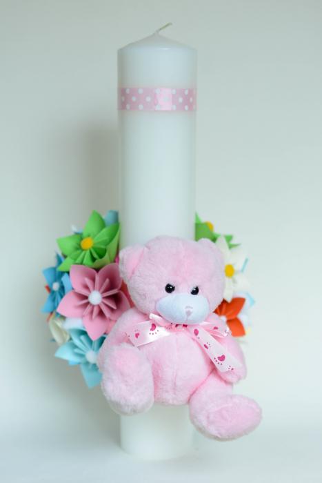 Lumânare botez personalizată - Ursuleț pluș 2