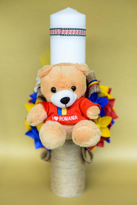 Lumânare botez Tricolor - Ursuleț 2