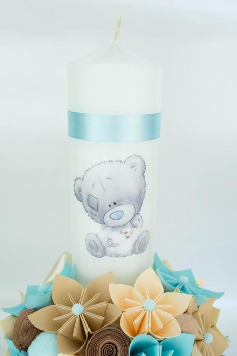 Lumânare botez Ursuleț băiețel - Fundiță 1