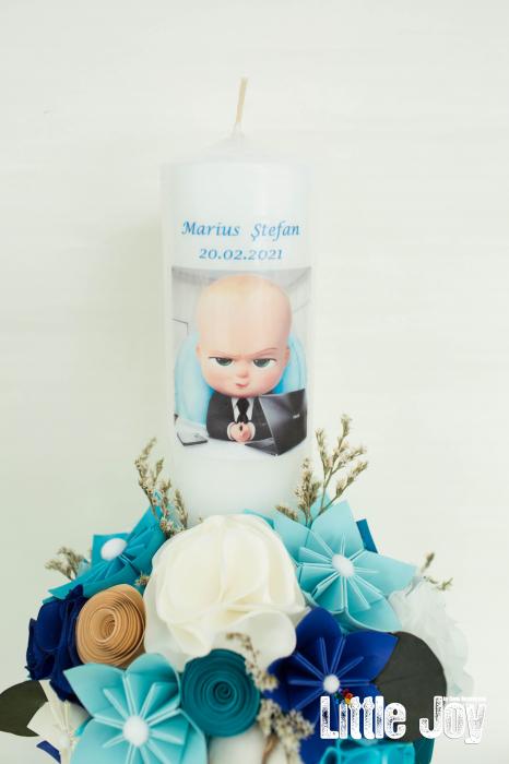Lumânare botez BabyBoss, personalizată - Fundiță 1