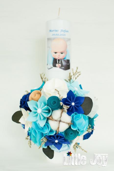 Lumânare botez BabyBoss, personalizată - Fundiță 0