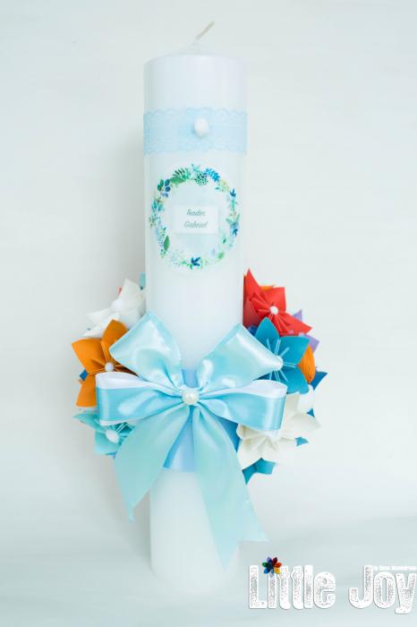 Lumânare botez personalizată - Portocaliu 2