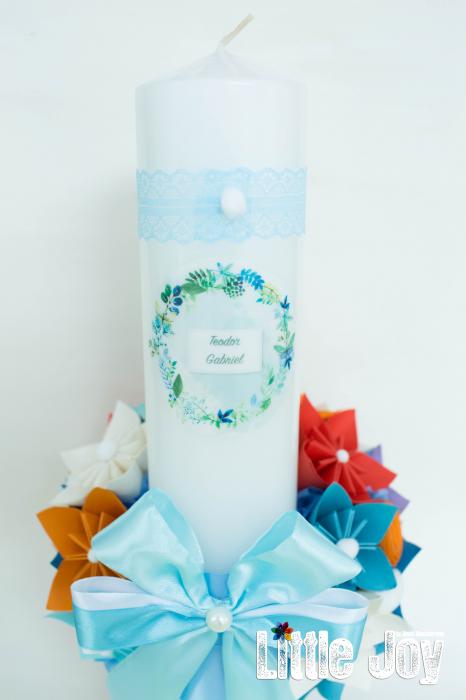 Lumânare botez personalizată - Portocaliu 3