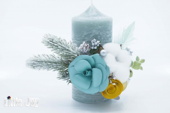 Lumânare flori hârtie Crăciun 1