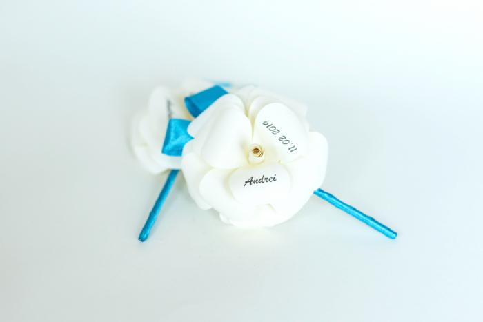 Mărturie botez - Trandafir hârtie - 6 cm 0