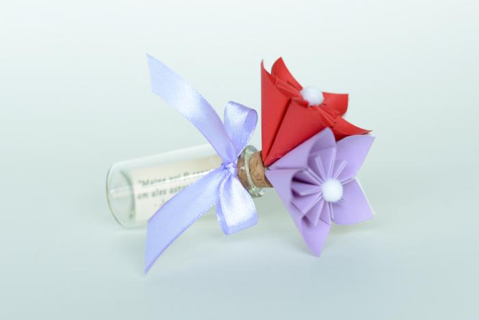 Mărturie - Sticluță flori hârtie 5