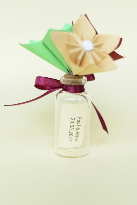 Mărturie - Sticluță flori hârtie 2