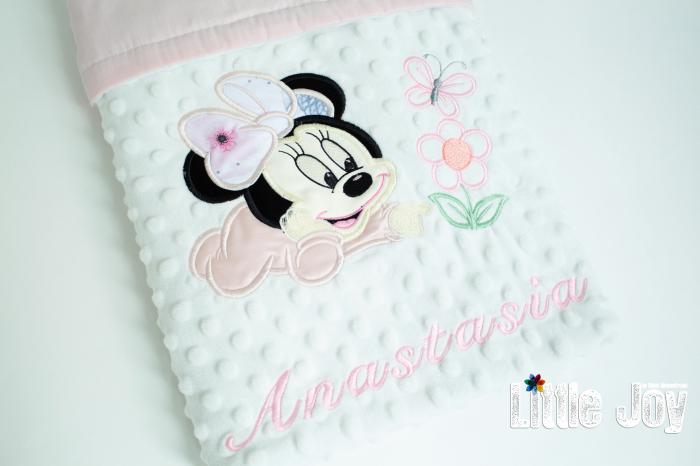 Păturică personalizată - Minnie roz pal [3]