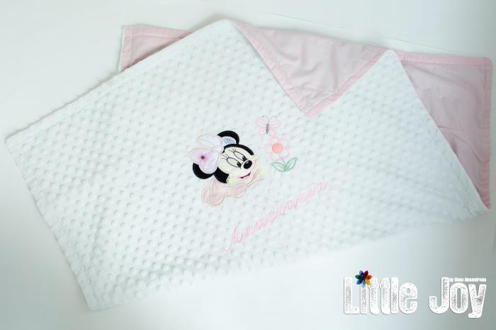 Păturică personalizată - Minnie roz pal [1]