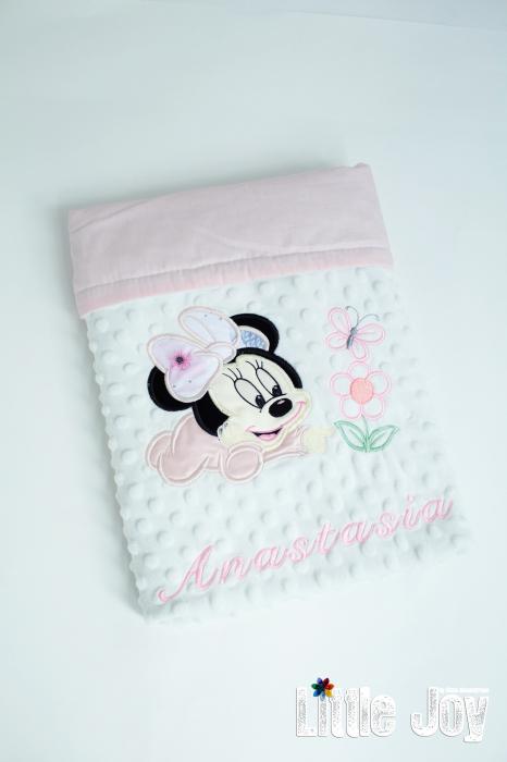 Păturică personalizată - Minnie roz pal [2]