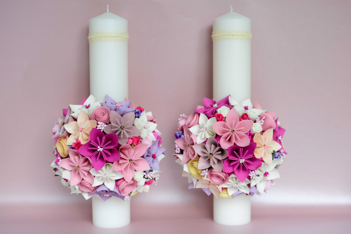 Set lumânări cununie Roz-Siclam 0