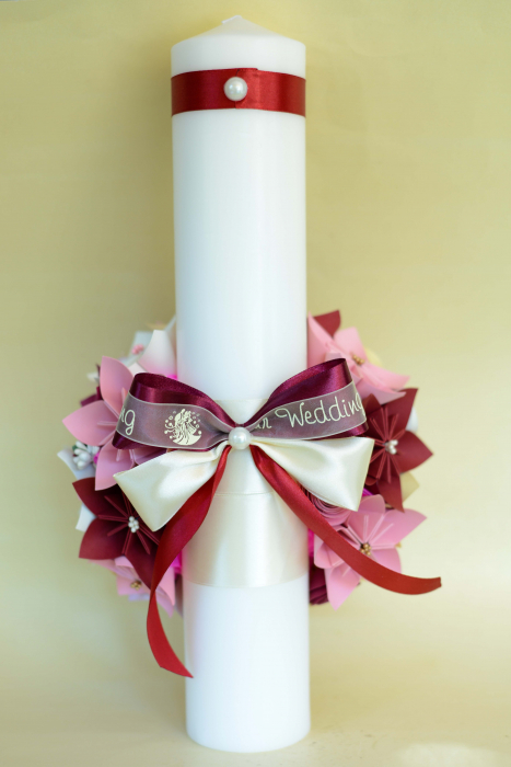 Set lumânări cununie personalizate Roz-Crem 1
